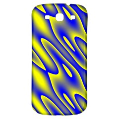 Blue Yellow Wave Abstract Background Samsung Galaxy S3 S Iii Classic Hardshell Back Case by Nexatart