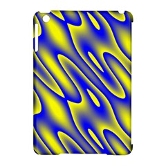 Blue Yellow Wave Abstract Background Apple Ipad Mini Hardshell Case (compatible With Smart Cover) by Nexatart