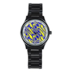 Blue Yellow Wave Abstract Background Stainless Steel Round Watch by Nexatart