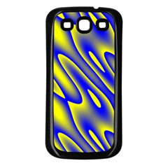 Blue Yellow Wave Abstract Background Samsung Galaxy S3 Back Case (black) by Nexatart