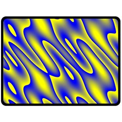 Blue Yellow Wave Abstract Background Double Sided Fleece Blanket (large)  by Nexatart