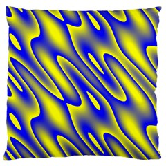 Blue Yellow Wave Abstract Background Standard Flano Cushion Case (one Side) by Nexatart