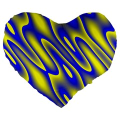 Blue Yellow Wave Abstract Background Large 19  Premium Flano Heart Shape Cushions