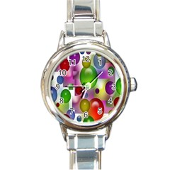 Colored Bubbles Squares Background Round Italian Charm Watch