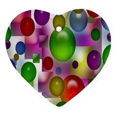 Colored Bubbles Squares Background Ornament (heart) by Nexatart