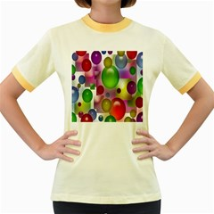 Colored Bubbles Squares Background Women s Fitted Ringer T Shirts by Nexatart
