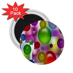 Colored Bubbles Squares Background 2 25  Magnets (10 Pack)  by Nexatart