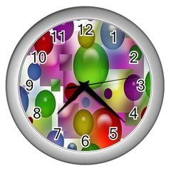 Colored Bubbles Squares Background Wall Clocks (silver)  by Nexatart