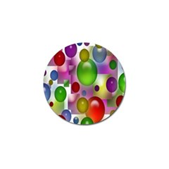 Colored Bubbles Squares Background Golf Ball Marker by Nexatart