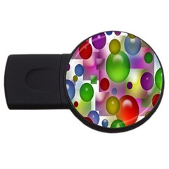 Colored Bubbles Squares Background Usb Flash Drive Round (2 Gb) by Nexatart