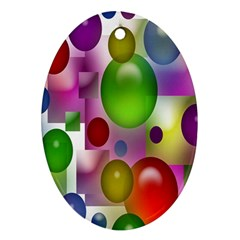 Colored Bubbles Squares Background Oval Ornament (two Sides) by Nexatart