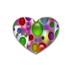 Colored Bubbles Squares Background Rubber Coaster (heart)