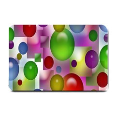 Colored Bubbles Squares Background Small Doormat  by Nexatart