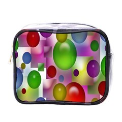 Colored Bubbles Squares Background Mini Toiletries Bags by Nexatart