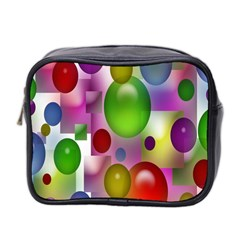 Colored Bubbles Squares Background Mini Toiletries Bag 2 Side by Nexatart