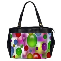 Colored Bubbles Squares Background Office Handbags (2 Sides)