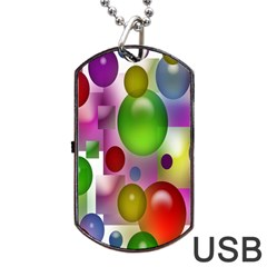 Colored Bubbles Squares Background Dog Tag Usb Flash (one Side) by Nexatart