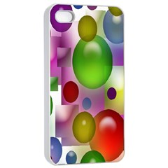 Colored Bubbles Squares Background Apple Iphone 4/4s Seamless Case (white)