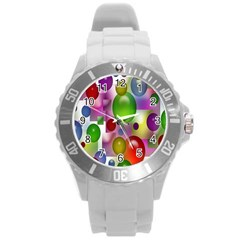 Colored Bubbles Squares Background Round Plastic Sport Watch (l)