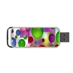 Colored Bubbles Squares Background Portable Usb Flash (two Sides) by Nexatart