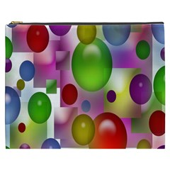 Colored Bubbles Squares Background Cosmetic Bag (xxxl)  by Nexatart