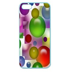 Colored Bubbles Squares Background Apple Seamless Iphone 5 Case (color) by Nexatart