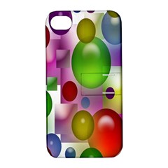 Colored Bubbles Squares Background Apple Iphone 4/4s Hardshell Case With Stand