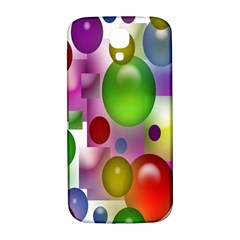 Colored Bubbles Squares Background Samsung Galaxy S4 I9500/i9505  Hardshell Back Case