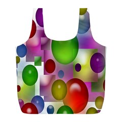Colored Bubbles Squares Background Full Print Recycle Bags (l)  by Nexatart