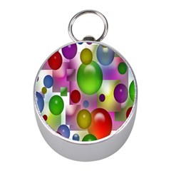 Colored Bubbles Squares Background Mini Silver Compasses by Nexatart