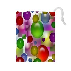 Colored Bubbles Squares Background Drawstring Pouches (large)  by Nexatart