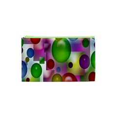 Colored Bubbles Squares Background Cosmetic Bag (xs) by Nexatart
