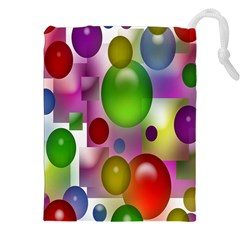 Colored Bubbles Squares Background Drawstring Pouches (xxl) by Nexatart
