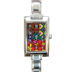 Digitally Created Abstract Patchwork Collage Pattern Rectangle Italian Charm Watch by Nexatart