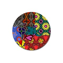 Digitally Created Abstract Patchwork Collage Pattern Magnet 3  (round) by Nexatart