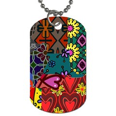 Digitally Created Abstract Patchwork Collage Pattern Dog Tag (two Sides)