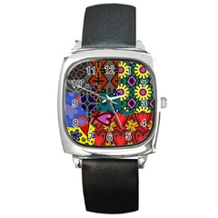 Digitally Created Abstract Patchwork Collage Pattern Square Metal Watch by Nexatart