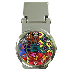 Digitally Created Abstract Patchwork Collage Pattern Money Clip Watches