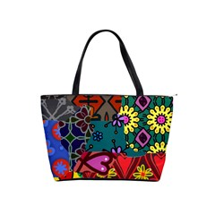 Digitally Created Abstract Patchwork Collage Pattern Shoulder Handbags by Nexatart