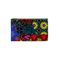 Digitally Created Abstract Patchwork Collage Pattern Cosmetic Bag (small)  by Nexatart