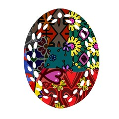 Digitally Created Abstract Patchwork Collage Pattern Oval Filigree Ornament (two Sides) by Nexatart