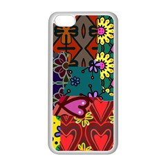 Digitally Created Abstract Patchwork Collage Pattern Apple Iphone 5c Seamless Case (white) by Nexatart
