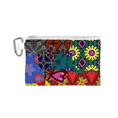 Digitally Created Abstract Patchwork Collage Pattern Canvas Cosmetic Bag (s)
