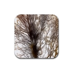 Tree Art Artistic Tree Abstract Background Rubber Square Coaster (4 Pack)