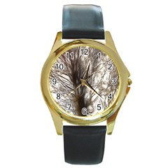 Tree Art Artistic Tree Abstract Background Round Gold Metal Watch by Nexatart