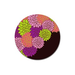 Floral Card Template Bright Colorful Dahlia Flowers Pattern Background Magnet 3  (round) by Nexatart