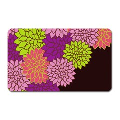 Floral Card Template Bright Colorful Dahlia Flowers Pattern Background Magnet (rectangular) by Nexatart