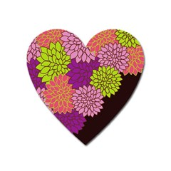 Floral Card Template Bright Colorful Dahlia Flowers Pattern Background Heart Magnet by Nexatart