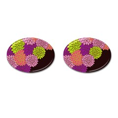 Floral Card Template Bright Colorful Dahlia Flowers Pattern Background Cufflinks (oval) by Nexatart
