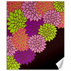 Floral Card Template Bright Colorful Dahlia Flowers Pattern Background Canvas 8  X 10  by Nexatart